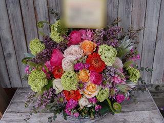 アレンジメント 春の花材 誕生日御祝